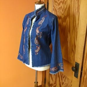 Vintage 90s denim embroidered bell sleeve jacket